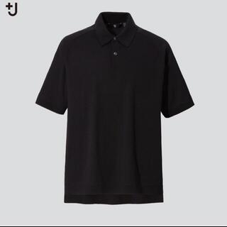 UNIQLO - UNIQLO +J ユニクロシルクコットンニットポロシャツ ブラック M