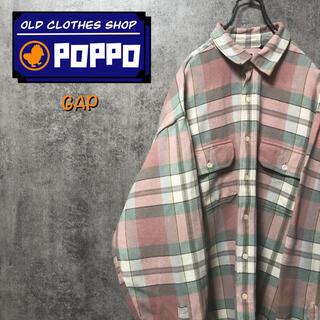 GAP - オールドギャップGAP☆フラップ付きダブルポケットネルチェックシャツ 90s