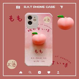 桃 ぷにぷに iPhone12ケース 韓国 ストレス解消 もちもち スマホケース