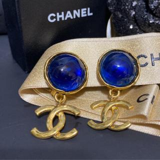 CHANEL - 【正規極美品】シャネル ブルーグリポア ココマーク 揺れる ゴールド イヤリング