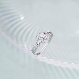 デザイナースタイル幸運の花リング925シルバーハート型の花ジルコンリング指輪