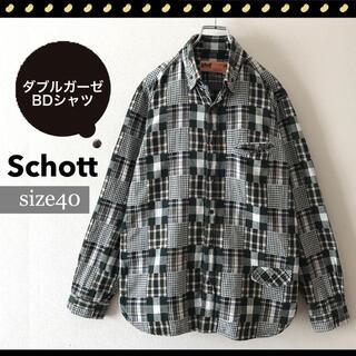 schott - ショット★パッチワーク★ダブルガーゼ★BDシャツ★モノトーンチェック★サイズ40