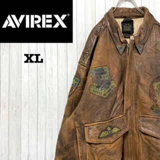 AVIREX - AVIREX アヴィレックス A2 フライト レザージャケット 革ジャン XL