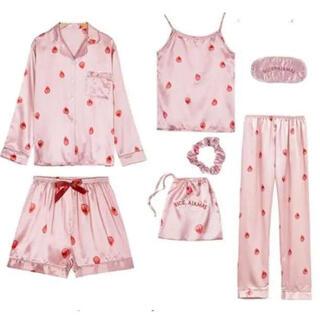 【ピンク】大人気 レディース パジャマ 部屋着 ルームウエア 上下セット いちご