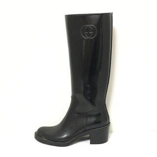 グッチ(Gucci)のグッチ 36 レディース ダブルG 黒 ラバー(レインブーツ/長靴)