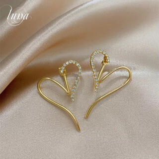 STAR JEWELRY - heart zirconia design pierce★S925 post