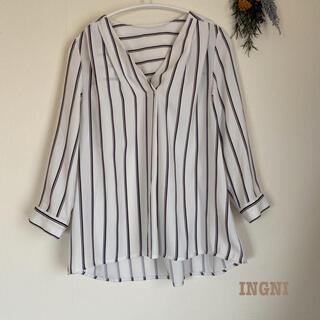 INGNI - INGNI ストライプシャツ ゆったり 体型カバー 着回し オフィス カジュアル