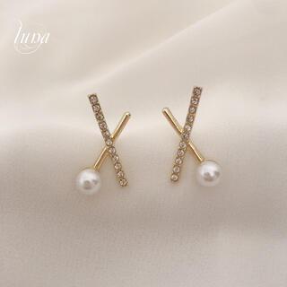STAR JEWELRY - Cross line pearl pierce ❀︎S925post gold