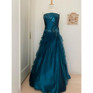 エメ(AIMER)のAIMER グリーン・ブルー 玉虫色 13号 ステージロングドレス カラードレス(ロングドレス)