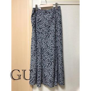 GU - GU ブラックフラワー ロングスカート Lサイズ