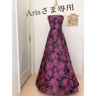 エメ(AIMER)のA risさま専用♪  AIMER 黒・ピンク 薔薇柄・9号 美品(ロングドレス)