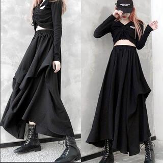~3L フロントバルーン風ふんわりAラインロングスカート黒(ロングスカート)