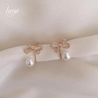 4℃ - ribbon&pearl pierce ★ S925 post