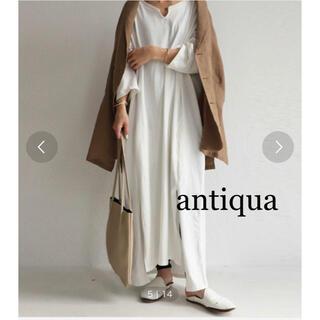 antiqua - antiqua アンティカ キーネックロール襟ワンピース ロングワンピース