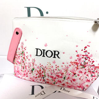 ディオール(Dior)のディオール ノベルティ ポーチ 花柄 ピンクホワイト(ポーチ)