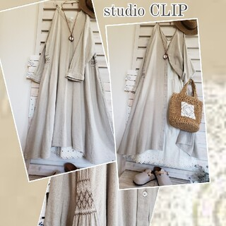 STUDIO CLIP - studioCLIP/リネン混 前後2way 両サイド刺繍ギャザーが素敵なワンピ