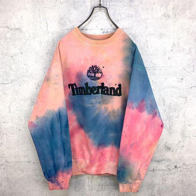 Timberland(ティンバーランド)の希少 90s ティンバーランド スウェット 刺繍 ビッグシルエット タイダイ染め メンズのトップス(スウェット)の商品写真