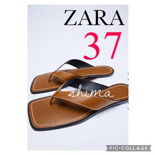 ZARA - ZARA トップステッチ&スクエアトゥフラットサンダル ZARA トングサンダル