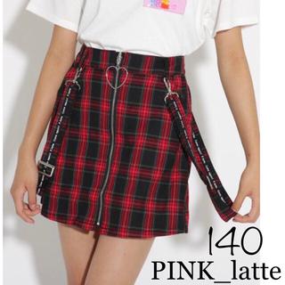 PINK-latte - PINK_latte チェックスカート 140 赤