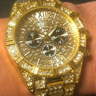 新品 CURDDEN ゴージャスアイスアウトウォッチ メンズ腕時計 ゴールドCZ