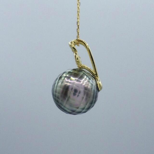 1粒 10mm パール 真珠 ダイヤ  k18yg イエローゴールド ネックレス レディースのアクセサリー(ネックレス)の商品写真