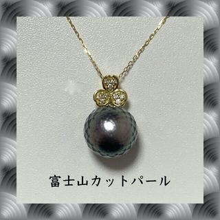 1粒 10mm パール 真珠 ダイヤ  k18yg イエローゴールド ネックレス(ネックレス)