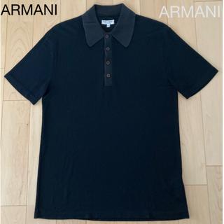 アルマーニ コレツィオーニ(ARMANI COLLEZIONI)の【高級ビスコース素材】アルマーニ サイズM    黒   ポロシャツ (ポロシャツ)