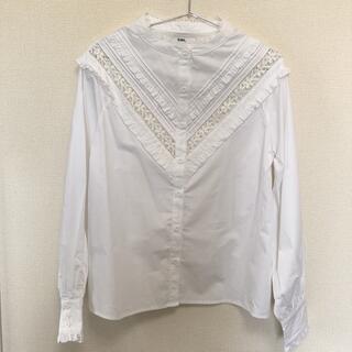 GRL - GRL 襟なし長袖レースシャツ(ホワイト)