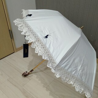 POLO RALPH LAUREN - 石井美保さん愛用 ラルフローレン フリル 折り畳み 日傘 楽折 白