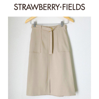 STRAWBERRY-FIELDS - ベルト付きビッグポケットタイトスカート ベージュSサイズ ストロベリーフィールズ