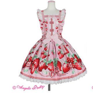 Angelic Pretty - アンジェリックプリティ 摘みたていちご エプロン風スカート ピンク