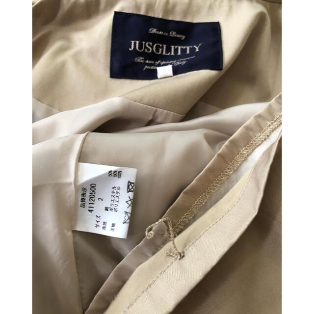 JUSGLITTY(ジャスグリッティー)のジャスグリッティーJUSGLITTYフード付きロングブルゾン サイズ2 裏地付き レディースのジャケット/アウター(ロングコート)の商品写真
