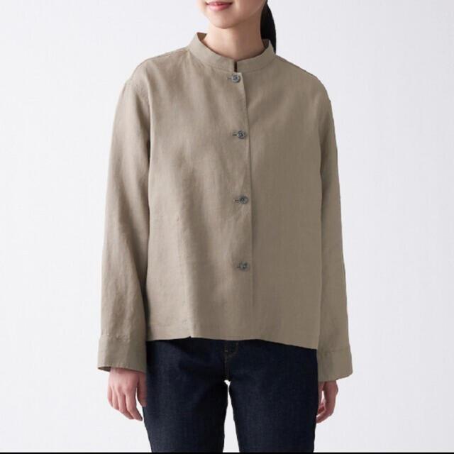 MUJI (無印良品)(ムジルシリョウヒン)の無印 フレンチリネン洗いざらしシャツジャケット  グレイッシュブラウン レディースのトップス(シャツ/ブラウス(長袖/七分))の商品写真