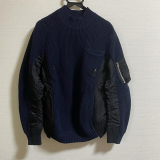 sacai - sacai ニット セーター ナイロン MA-1 ドッキング 18aw