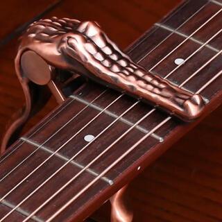 ギターカポタスト ワニ型【レッド】アコギ エレキ ベース おしゃれ 個性 (アコースティックギター)