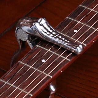 ギターカポタスト ワニ型【シルバー】アコギ エレキ ベース おしゃれ 個性 (アコースティックギター)