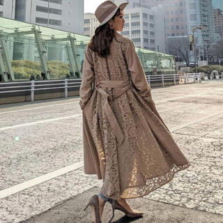 rienda - rienda 新品 Big collar back lace trench CT