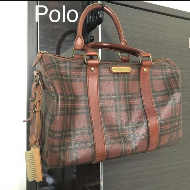 POLO RALPH LAUREN(ポロラルフローレン)のPOLO RALPH LAUREN チェック ミニ ボストンバッグ ブラウン 赤 レディースのバッグ(ボストンバッグ)の商品写真