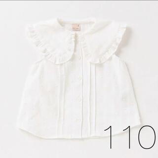 petit main - プティマイン Big衿布帛ブラウス 新品 110