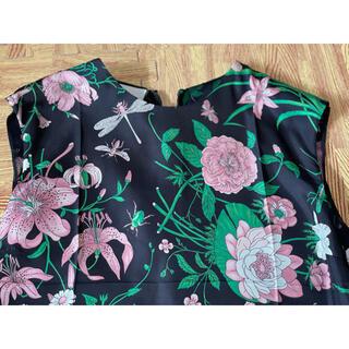 Gucci - ●GUCCIグッチ黒地ピンク花柄シルクセットアップ新品