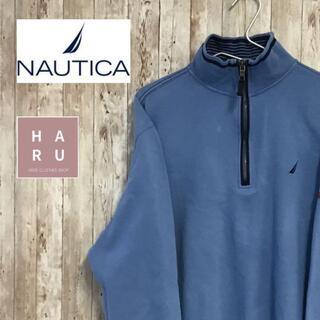 ノーティカ(NAUTICA)のNAUTICA ノーティカ ロゴ入り ハーフジップトレーナー 水色(スウェット)