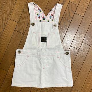ディズニー(Disney)のDisney★110cm  ホワイトデニム/ジャンパースカート  つなぎ(スカート)