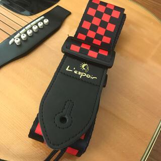 王道デザイン!チェック柄のギターストラップ【黒×赤】アコギ エレキ シンプル(ストラップ)