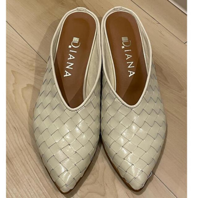 DIANA(ダイアナ)のDIANA ダイアナ 本革メッシュミュール 白 Sサイズ レディースの靴/シューズ(ミュール)の商品写真