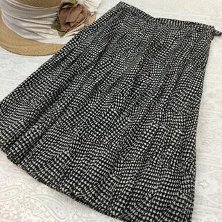 ジュンアシダ(jun ashida)のジュンアシダ ♡ サマーウール フレアスカート ♡ ブラック×ベージュ ♡ 11(ひざ丈スカート)