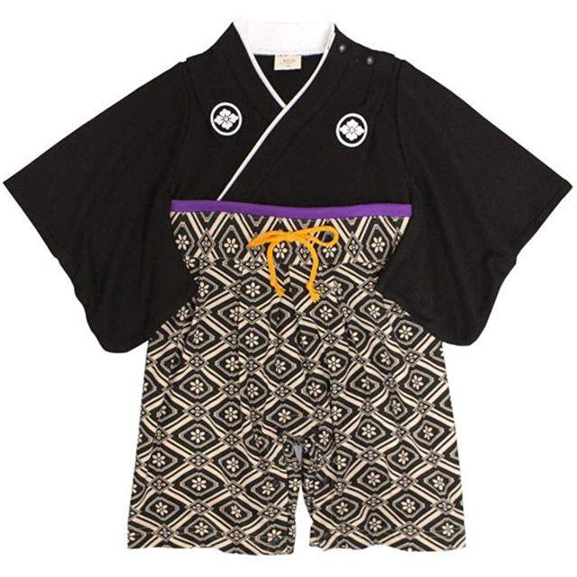 ベビー袴ロンパース男の子【ブラックxパープル/80cm】新品 キッズ/ベビー/マタニティのベビー服(~85cm)(ロンパース)の商品写真