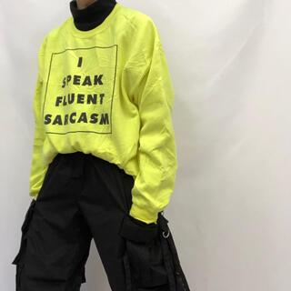 【Vintage アイロニープリントスウェットシャツ】レモンイエロー