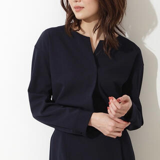 NATURAL BEAUTY BASIC - カットジョーゼットセットアップ スキッパー シャツ