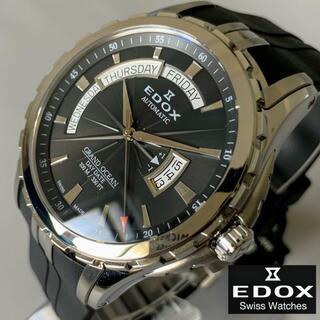 エドックス(EDOX)の【新品】 エドックス EDOX グランドオーシャン ブラック盤色 メンズ腕時計(ラバーベルト)