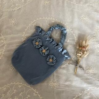 グリモワール(Grimoire)のvintageレトロ古着アンティークお花飾りプリーツバッグ(ハンドバッグ)